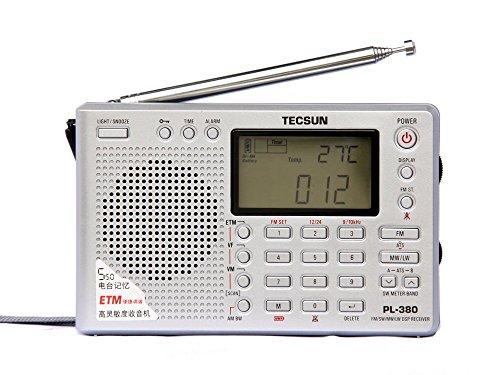 TECSUN PL-380 Radio Digital PLL Portable Radio FM Stereo/LW/SW/MW DSP Receiver (380-Silver)