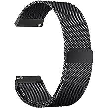 Samsung Gear S3 Acero inoxidable Correa de reloj / banda de IWatch / cadena de reloj / watch band, KuGi ® Samsung Gear S3 Correa de reloj 24mm de alta calidad de 42 mm de acero pulsera reloj elegante correa de la venda de metal inoxidable con adaptador metálico de cierre, moda milanesa de lazo de acero inoxidable de malla de reemplazo de la hebilla de la correa de muñeca de la venda de reloj inteligente Samsung Gear S3 classic watch.(Negro)