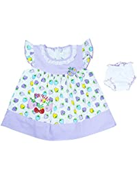Ole Baby Chikankari Embroidered Organic Cotton Baby Girl Clothes Checks Lace Princess Short Sleeve Frock With Matching Bloomer 6-12 Months