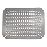 InterDesign Basic Sink Mat, Sink Protector Ideal for Drying Dishes, Made of Durable PVC Plastic, Grey, Large