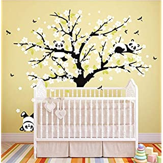 Rocwart Family Tree Wall Stickers - Living Room Kids Baby Nursery Wall Decoration Removable Vinyl Animal White Flower Tree Wall Art Decal 70.9x86.6