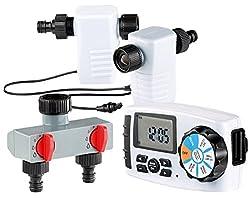 Royal Gardineer Wassercomputer: Starter-Set: Bewässerungscomputer BWC-400 mit 2 Schlauch-Anschlüssen (Digitaler Bewässerungscomputer)