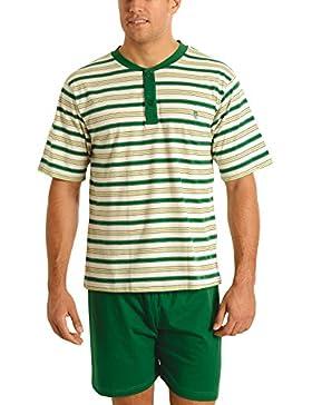 [Patrocinado]El Búho Nocturno Pijama de Caballero Corto Moderno a Rayas/Ropa de Dormir para Hombre - Punto, 100% algodón -...