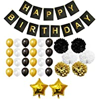 Set Decoraciones Fiesta 33 Piezas Doradas, Blancas y Negras por Belle Vous - Pompones, Globos de Látex y de Papel de Aluminio y Pancartas para Celebraciones de Cumpleaños y Fiestas - Kit Lote Decoraciones para Chicas, Chicos y Adultos de BELLE VOUS