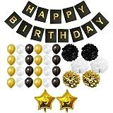 33-tlg. Dekorationen-Set - Gold, Schwarz und Weiß - Pom-Poms, Happy Birthday Banner, Latexballons & Folienballons von Belle Vous - für Geburtstag, Kinder-Partys, Baby-Partys, Abschlussfeiern und Hochzeitsfeiern - Großpackung Dekorationen Zubehör für Mädchen, Jungen & Erwachsene