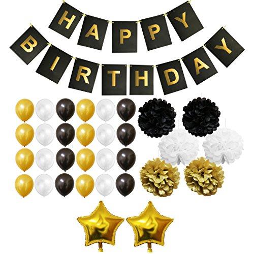 -Set - Gold, Schwarz und Weiß - Pom-Poms, Happy Birthday Banner, Latexballons & Folienballons von Belle Vous - für Geburtstag, Kinder-Partys, Baby-Partys, Abschlussfeiern und Hochzeitsfeiern - Großpackung Dekorationen Zubehör für Mädchen, Jungen & Erwachsene (Ballon-bogen-zum Geburtstag-party)