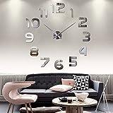 JUEYAN DIY Wanduhr 3D XXL Moderne Clock 3D Silber Verspiegelt Edelstahl Ohne Tickgeräusche Rahmenlose Wandaufkleber Dekoration fürs Wohnzimmer