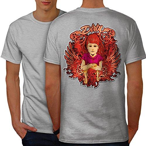 wellcoda Dreckig Mädchen Flügel Jahrgang Männer 3XL Ringer T-Shirt (Flügel Ringer T-shirt)
