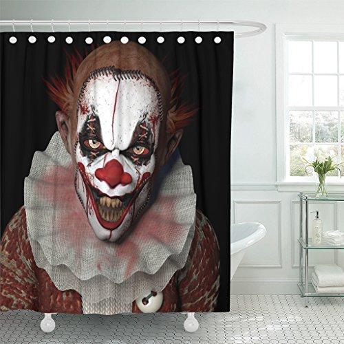 TOMPOP Duschvorhang Scary Scarier Clown 1 mit scharfen Spitzen Zähnen glänzen auf Sie schwarz Horror wasserdichtes Polyestergewebe Set mit Haken, Polyester-Mischgewebe, Multi, 72 x 72 inches (Halloween-farbstoffe Für Kinder)
