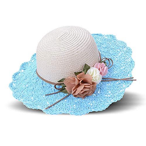 Grtodnz Mädchen scherzt Sonnenhut-Sommer-Blumen-Kappe Breathable gewebte Stroh-Strand-Hut-Visier, Feiertage und draußen,Blue (Schwimmen-kappen Für Frauen Blume)