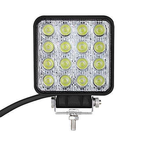 LiNKFOR 48W Faro da Auto 16 LED Impermeabile Luce Fendinebbia con Supporto Cablaggio Lampada Barra da Lavoro Luce per Auto Camion SUV ATV Fuoristrada Barca
