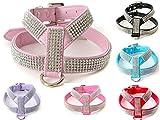 Gorgeous Strass Diamante Dog Pet Puppy Harness für xsmall & kleine Hunde aus kommt mit kostenlosen besonderen Hund oder Knochen Charme (Small fits chest 30-35cm, Light Pink)