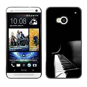 Rubber Gehäuse Hülle Schutz Case Cover Zubehör By RAYDREAMMM - HTC One M7 - Piano Keys Black White Music Instrument