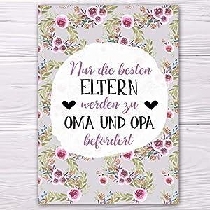 """A6 Postkarte""""Nur die besten Eltern werden zu Oma und Opa befördert."""" in grau/lila Glanzoptik Papierstärke 235g/m2 Geschenk Eltern"""