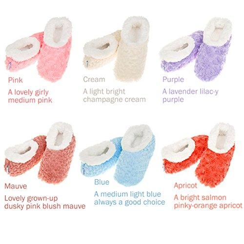Snoozies Femmes Super Soft Rose texturé Fur-like Tissu Chaussons Violet