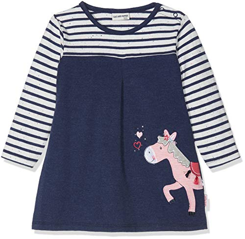 SALT AND PEPPER Baby-Mädchen Kleid B Dress Mon Amie Stripe, Blau (Crown Blue Melange 486), 74