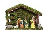 HAAC Weihnachtskrippe Krippe Holz 9 Figur 20 warmweißen LEDs 30 cm x 20 cm Weihnacht Weihnachten