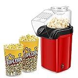Popcornmaschine, XiiYu 1200W Heißluft Popcorn Maker für Zuhause, kalorienarm ohne Fett & Öl Gesund