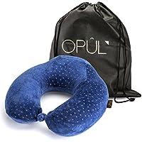 Almohada de Viaje de Espuma Viscoelástica - Reposacabezas patentado para vuelos y viajes, diseñado ergonómicamente con una funda suave de terciopelo transpirable, fácil de lavar - Neck pillow - Almoha