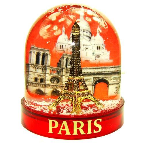 Souvenirs de France - Boule à Neige Luxe Paris en Coffret Cadeau - Rouge