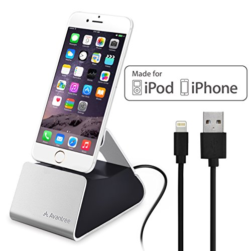 Avantree Estación de Carga de Aluminio para iPhone con Cable Lightning [Certificado Apple MFi], Soporte USB de Sincronización y Carga para iPhone 7, 6s plus