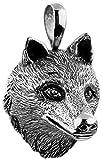 Silberner Wolf Schädel Anhänger für Ketten von Kuzzoi aus massivem 925er Sterling Silber für Halsketten, sehr hochwertig und exklusiv 361384-000