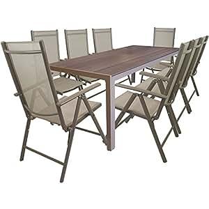 Multistore 2002 9tlg. Gartengarnitur Alu Gartentisch mit Non Wood/Polywood - Tischplatte 205x90cm + 8x klappbare Hochlehner Positionsstuhl mit Textilenbespannung Lehne in 7 Positionen verstellbar