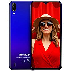 Blackview A60 Smartphone ohne Vertrag Günstig 6,1 Zoll Display 4080mAh Akku, 13MP+5MP Dual Kamera 16GB ROM, 128 GB erweiterbar Dual SIM Android 8.1 (Go Edition) Handy - Mist Blau