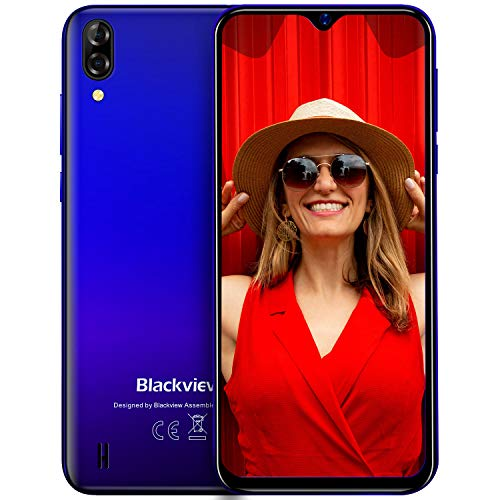 Blackview A60 (2019) Smartphone Libres 15.7cm (6.1') 19.2:9 HD Display, Cámara 13MP+5MP, 4080mAh Batería Telefono, 16GB ROM + 128GB TF Ampliable Dual SIM Android 8.1 (Go Edition) Moviles (EU Versión)