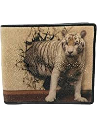 Stingray Bi-Fold Genuine Leather Print Tiger Come From Wall Wallet - Brown By Treasure