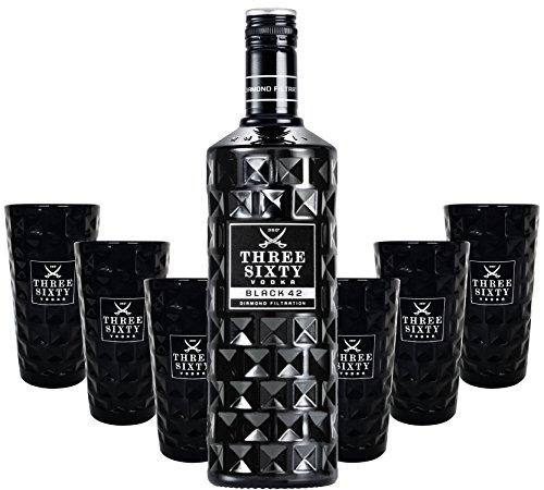 Three Sixty Black 42 Vodka 3L (42{ec5c80910da3b2f57248af2c150b625ee18abd88cb2bc48a8cf845dc09aa9075} Vol) + 6x Black Longdrink-Gläser schwarz -[Enthält Sulfite]