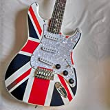 GUITARE ELECTRIQUE MOTIF UNION JACK + CABLE JACK