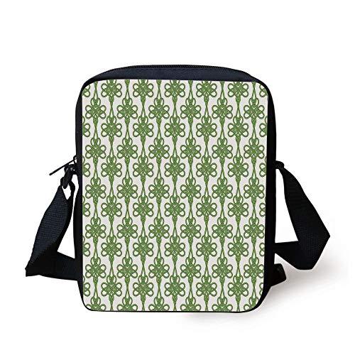 602635bd25ac LULABE Celtic,St. Patricks Day Theme Celtic Knots Lucky Clover Design  Pattern Irish Theme Print,Green White Print Kids Crossbody Messenger Bag  Purse