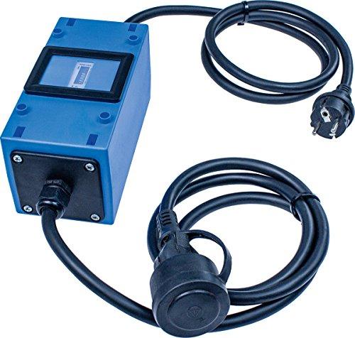 as - Schwabe MIXO Stromzähler/Zwischenzähler - Zwischenstecker Box 230 V - Rücklaufsperre - Schuko-Stecker und Kupplung - IP44 - Made in Germany I 61747, Blau