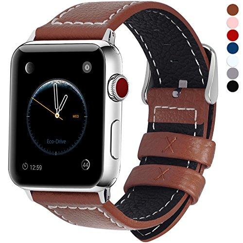 Fullmosa Compatible Correa Apple Watch 42mm Serie 3 Cuero,7 Colores LC-Jan Correa de Reloj Banda Cuero para iWatch/Apple Watch Series 3/2/1, Marrón 42mm