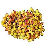 happy event Unechte Blumen | Künstliche Deko Blumen Gefälschte Blumen Blumenstrauß | 1 Bündel von 400 Köpfen Weihnachten Schaum Frosted Beerenobst für Haus Garten Party Blumenschmuck (Gelb)