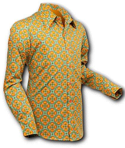Chena sci camicia dotsgrid light-green Arancione, settanta Retro, cotone Verde arancione