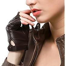 Nappaglo Gants en cuir femme pour conduire Doeskin Demi doights Moto Cycle  Gants sans doigts 6b427022862