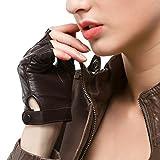Nappaglo Damen Lederhandschuhe für fahren Halbfinger fingerlose Handschuhe für Fahren Outdoor Motorrad Radfahren Handschuhe (M (Umfang der Handfläche:17.8-19.0cm), Braun)