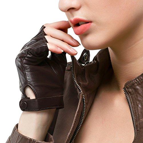Nappaglo Fingerlos Lederhandschuhe Damen Autofahrer Fahren Lammfell für Sommer Motorrad Handschuhe - Fingerlose Handschuhe Rot Leder