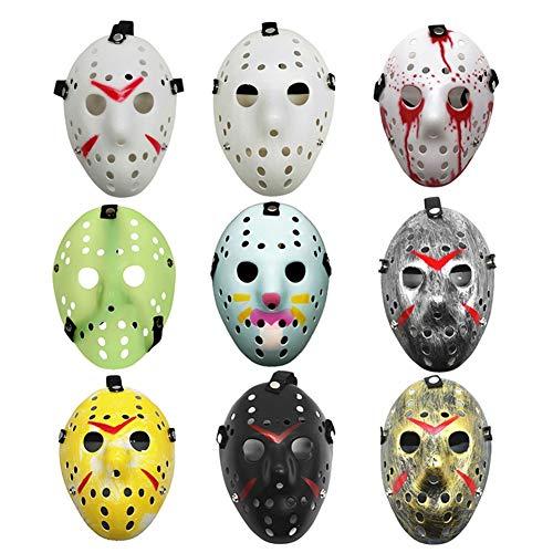 Christ For Givek Halloween Fun Diversity Maskerade Maske Halloween Maske für Festival Cosplay Halloween Kostüm Jason Cos Horror Maske(9PCS) (Womens Jason Kostüm)