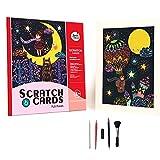 ASDFGH Scratch Art, Magic Colorido Tablero de Dibujo Papel Postal Tarjeta de Pintura Juguetes raspados Pintura Doodle Regalos para rascar con 5 Piezas Conjunto de Herramientas: Star Moon Night