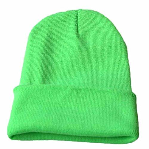 URSING Unisex Jungen Mädchen Slouchy Stricken Mütze Hüfte Hopfen Kappe Klassisch Warm Winter Ski Hut super süß Weich Strickmütze Einfarbig Modisch hochwertige Badymütze (Grün) -
