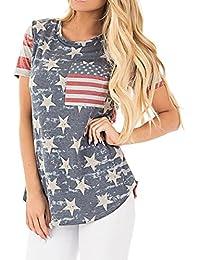 SG Amerikanische Flagge lose Rundhals Kurzarm T-Shirt mit Tasche