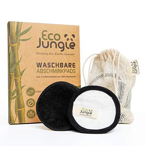 ECO JUNGLE Waschbare Abschminkpads - Abschminktücher (12 Stück) | 3-Layer Wattepads aus Bambus und Baumwolle | Zero Waste - Nachhaltig & Wiederverwendbar | TÜV Rheinland getestet | + 2 Waschbeutel -