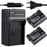 Tera 2 x Batterie rechargeable Li-ion 2350mAh 16,9Wh + Chargeur pour EN-EL15 Nikon D600/D610/D750/D7000/D7100/D7200/D800/D800E/D810/D810A/V1