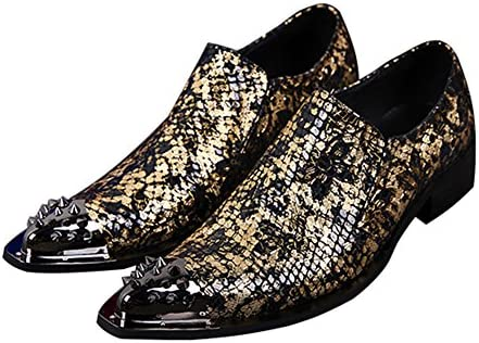 Cuero De Hombres Negocio Puntera De Metal Vestido Formal Party Tuxedo Realce Zapatos De Boda Tamaño 38 A 46,EU38