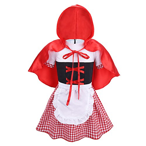 iiniim Bébé Fille Petit Chaperon Rouge Fancy Robe Déguisement Cosplay Costume Halloween Carnaval Journée des Enfants Performance Robes Cartoon 6 Mois-5 Ans Rouge & Blanc 4-5 Ans