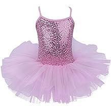 iEFiEL Maillot Vestido de Ballet Tutú Algodón con Lentejuelas Brillantes con Braga Interior para Niña 4 a 8 Años