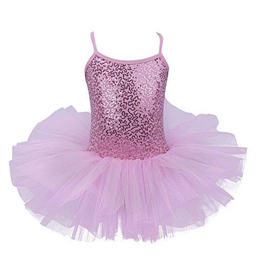 Kleid Ballett Kostüm (iEFiEL Mädchen Kleid Ballettkleid Kinder Ballett Trikot Ballettanzug mit Tütü Röckchen Pailletten Kleid in Weiß Rosa Türkis (122-128,)